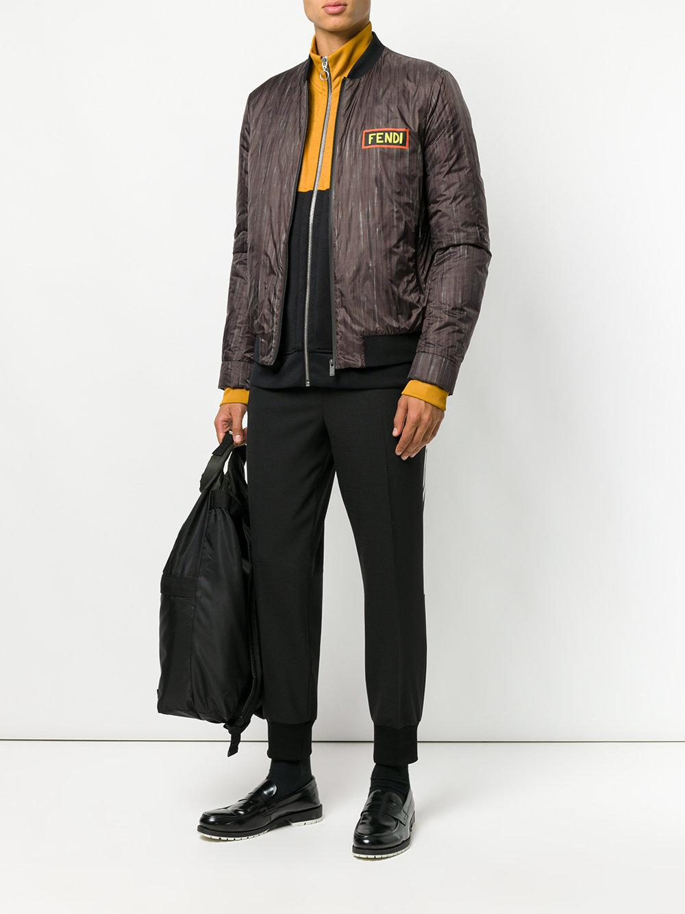 Fendi Synthetic Logo Print Bomber Jacket for Men