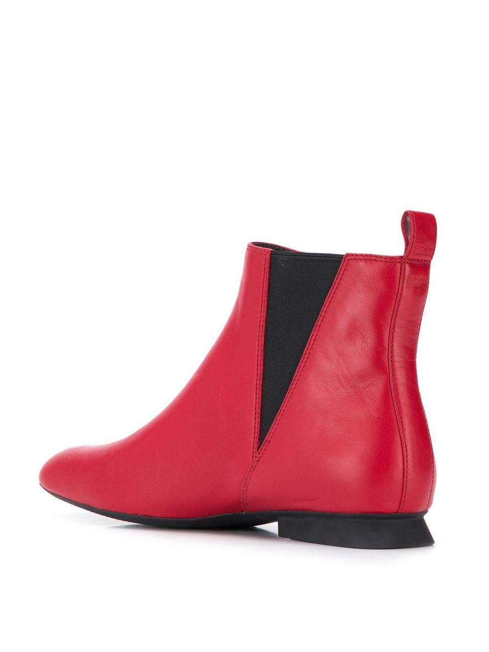 Botines con puntera cuadrada Camper de Cuero de color Rojo
