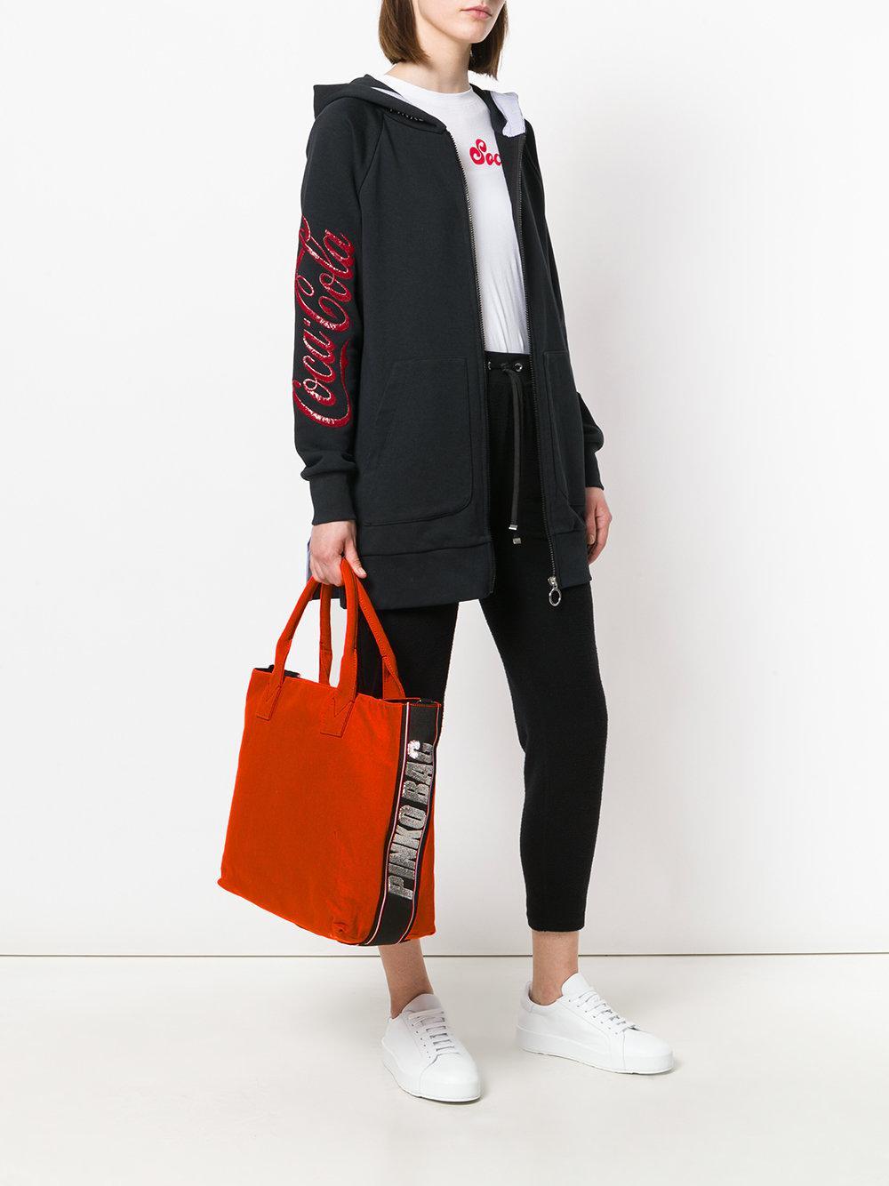 Pinko Cotton Alaccia Tote Bag in Yellow & Orange (Orange)