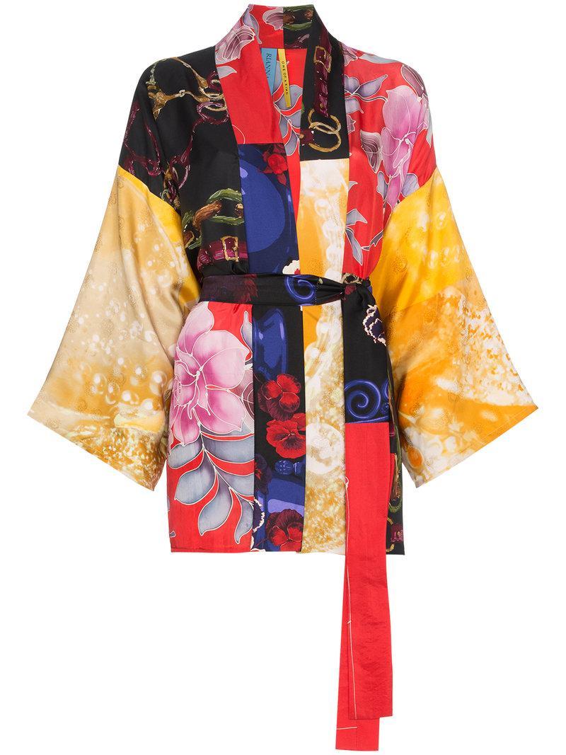 2b70e0f301 Rianna + Nina. Women s Short Multi Floral Bridle Print Silk Kimono Robe