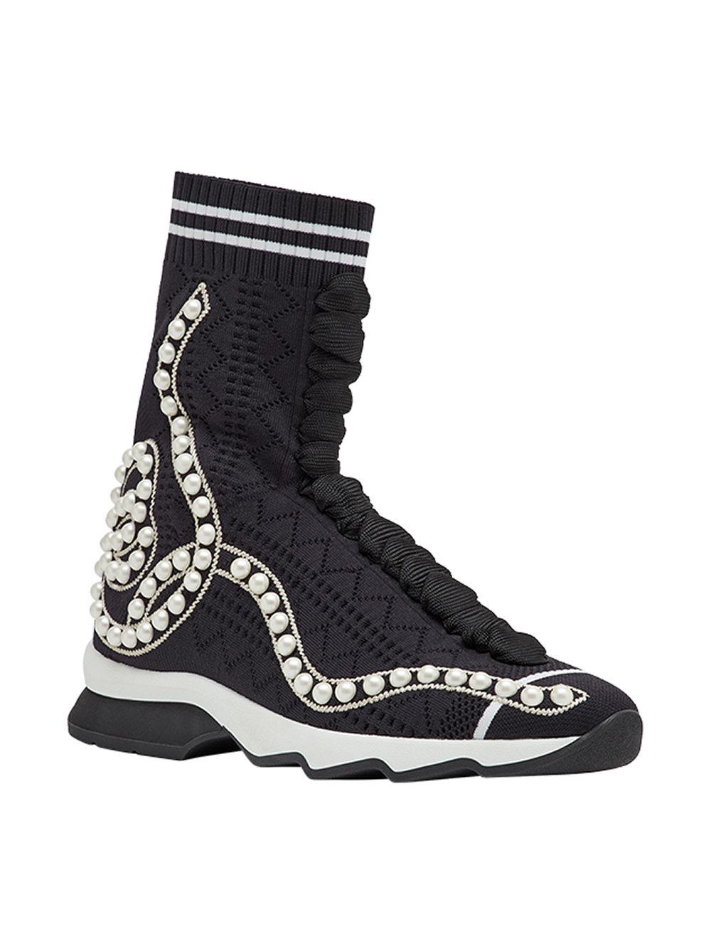 Fendi Synthetic Open Knit Sneakers in Black
