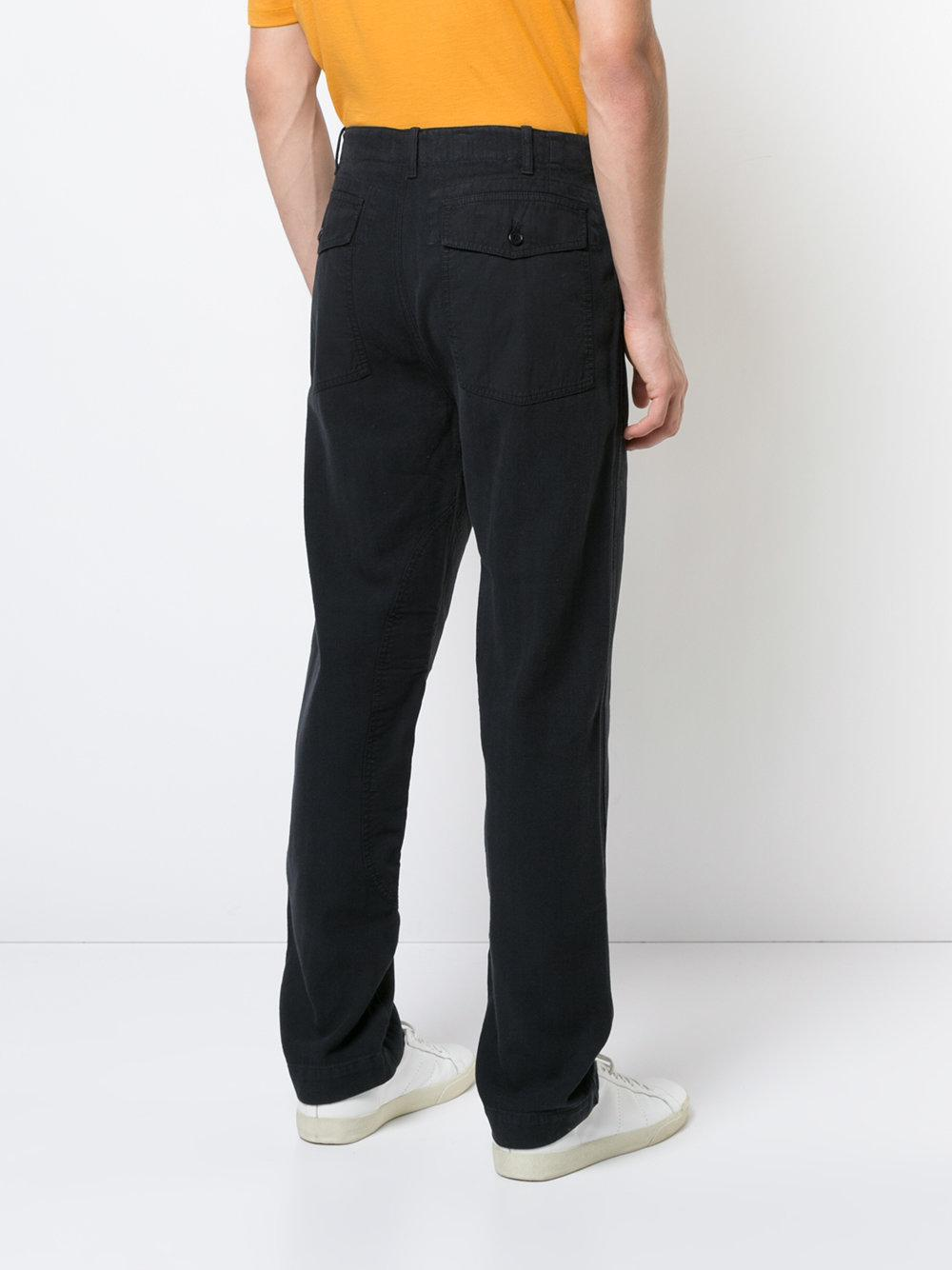 YMC Cotton Nam Patch Detail Trousers in Blue for Men