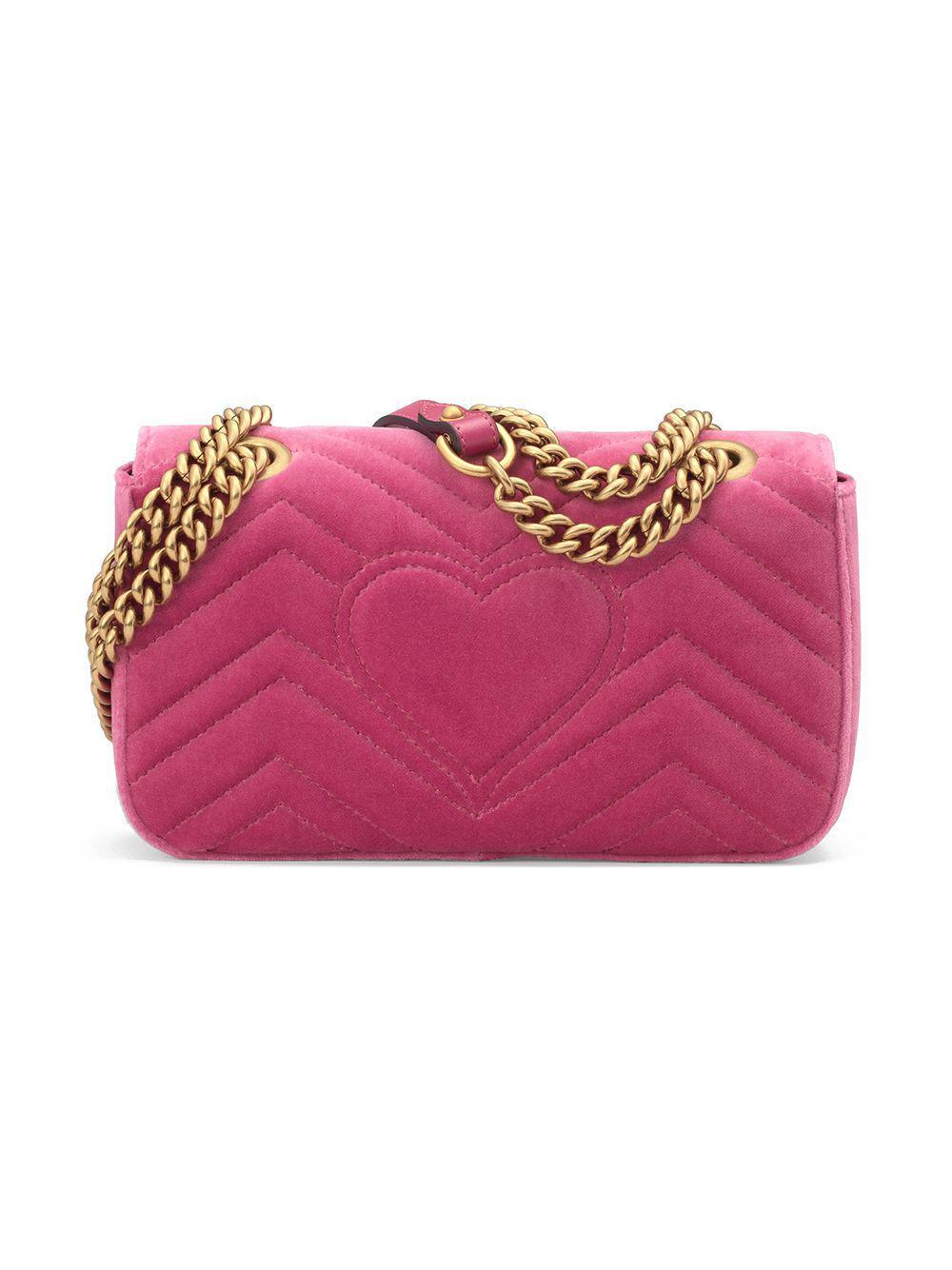 13d73b2097b3 Lyst - Gucci GG Marmont Velvet Mini Bag in Pink
