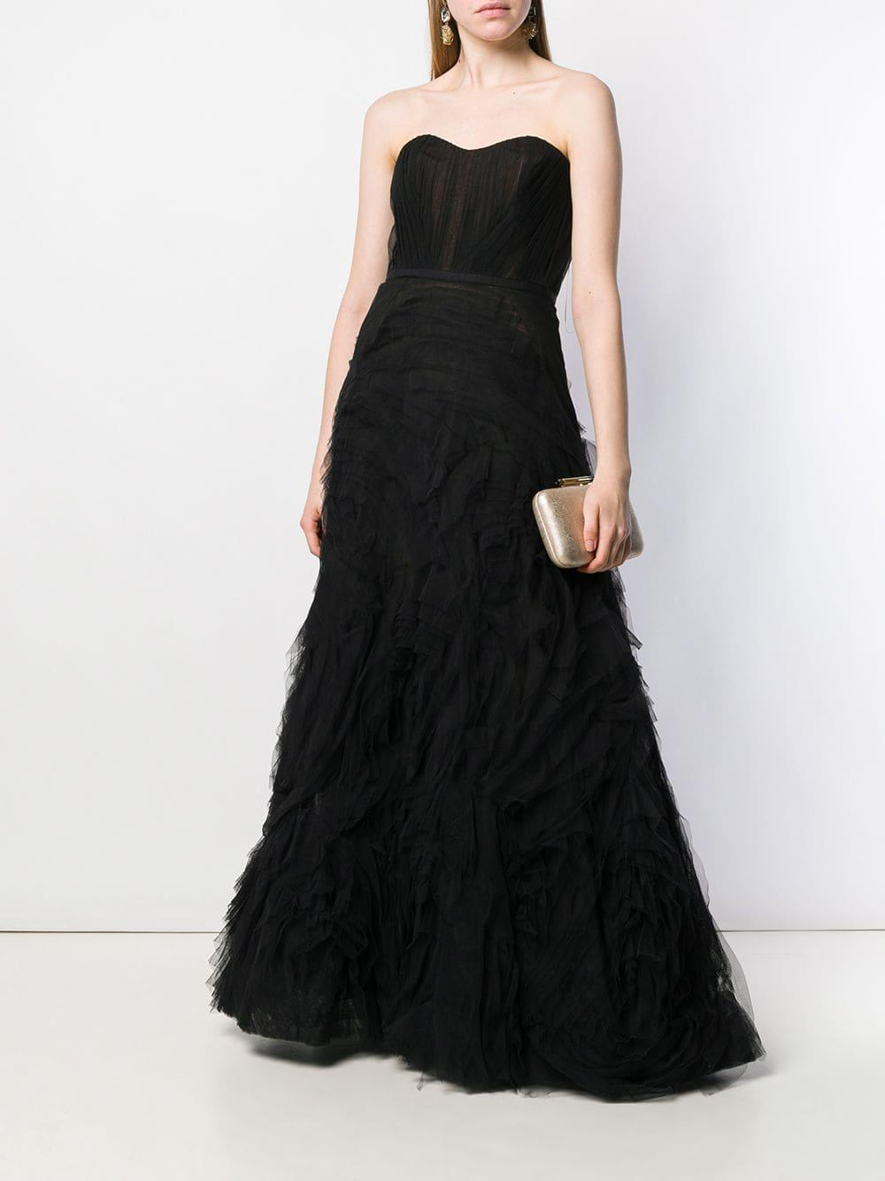 3a1bf216ed954 Lyst - Marchesa notte Strapless Textured Tulle Gown in Black