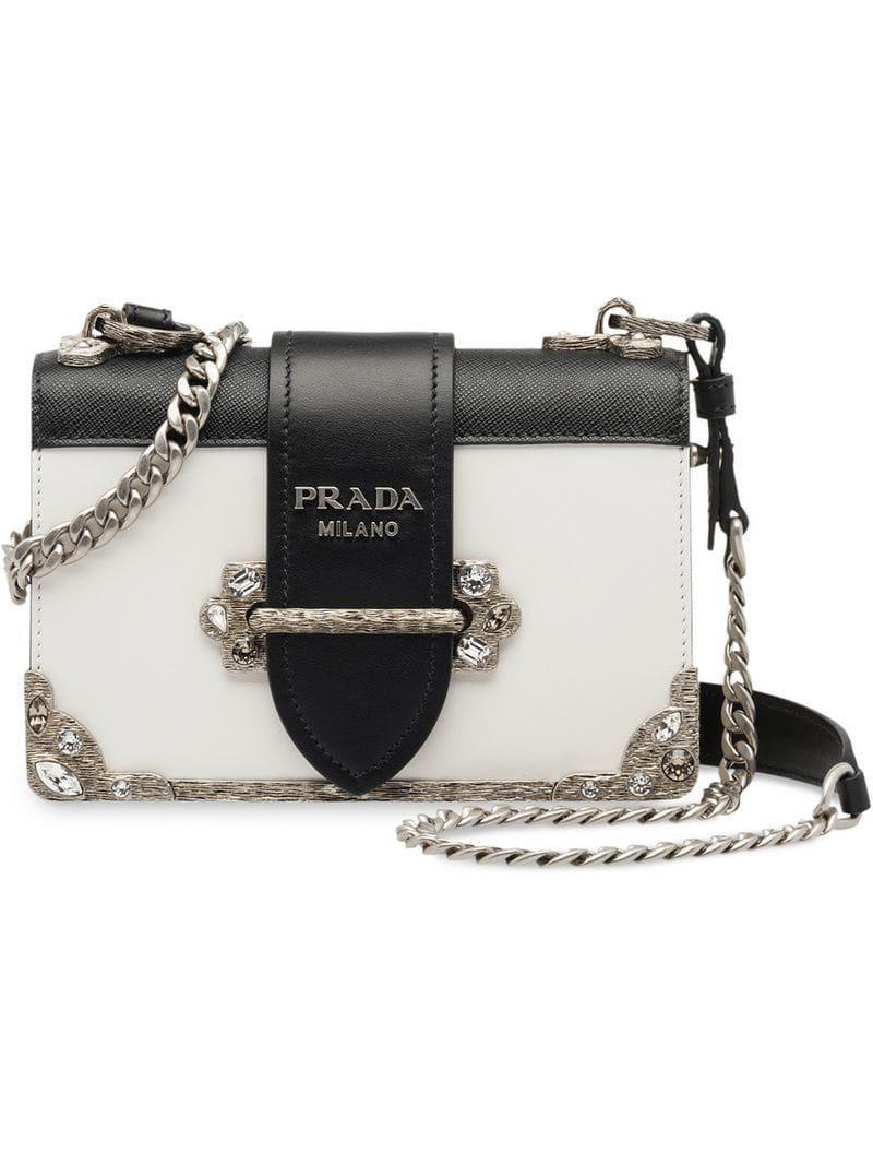 7a4b95e6f01d Prada Cahier Bag in White - Lyst