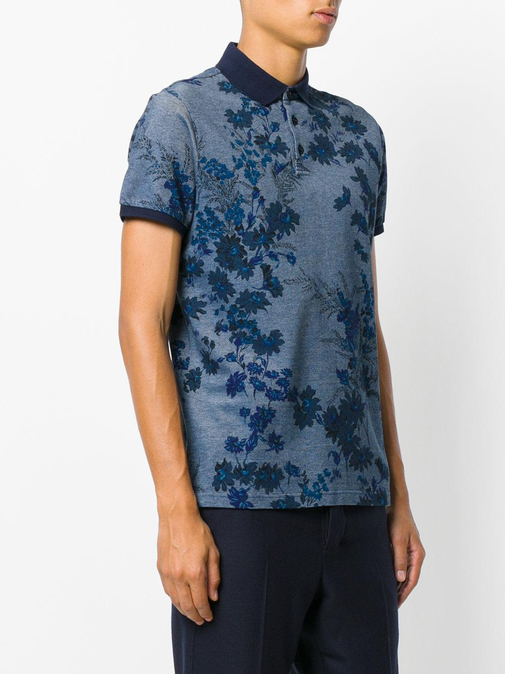 Lyst etro floral polo shirt in blue for men for Blue floral shirt mens