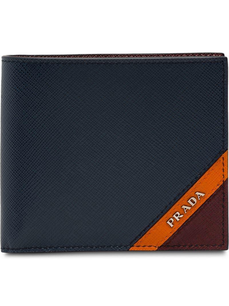 b9a3ec1286b5 Prada - Blue Logo Plaque Wallet for Men - Lyst. View fullscreen