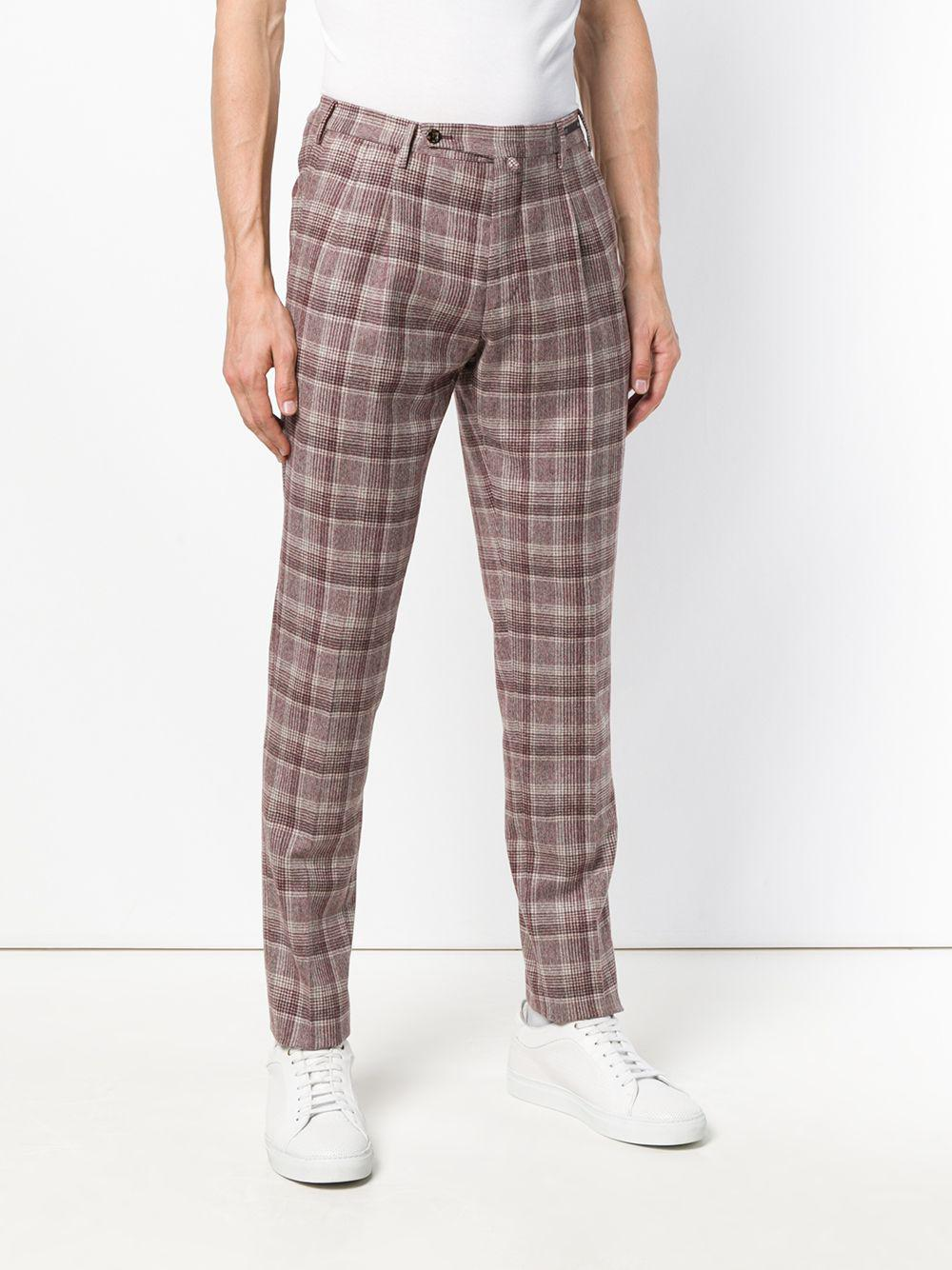 PT01 Wool Checked Trousers in Red for Men