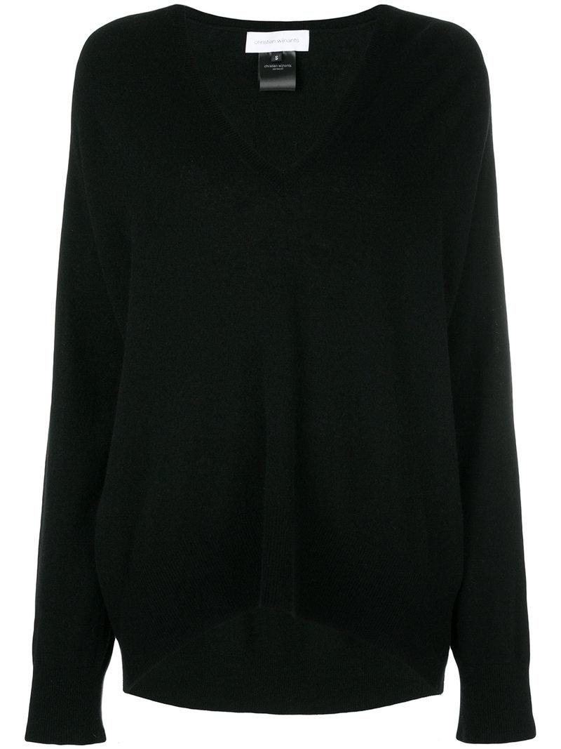 Christian wijnants Oversized V-neck Sweater in Black | Lyst