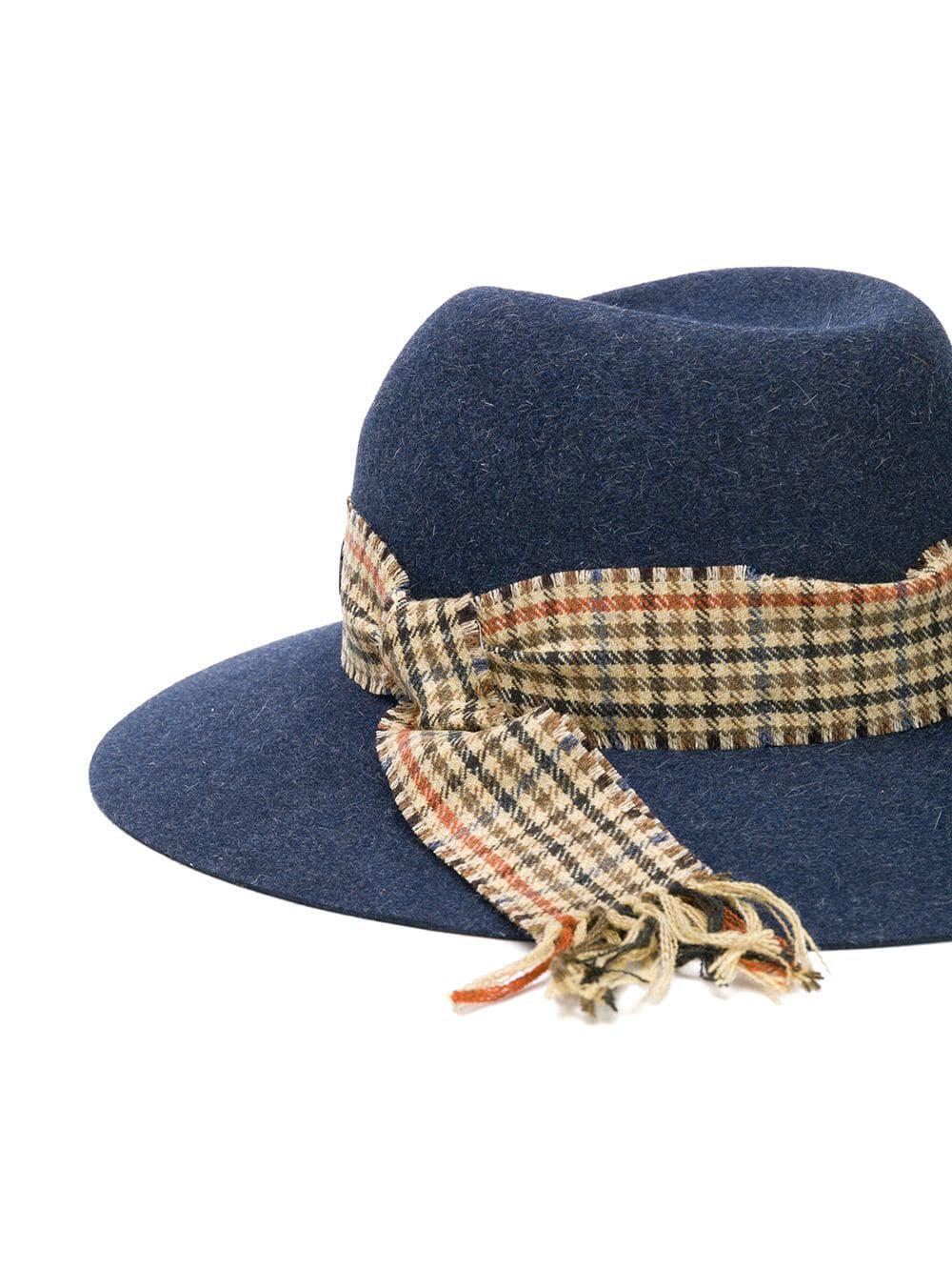 Maison Michel - Blue Check Trim Fedora Hat - Lyst. View fullscreen 203550b67298