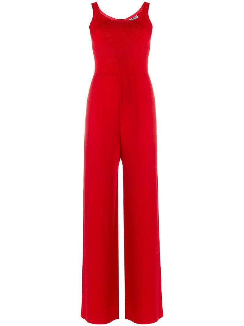 bb0d13021d Max Mara Straight-cut Jumpsuit in Red - Lyst