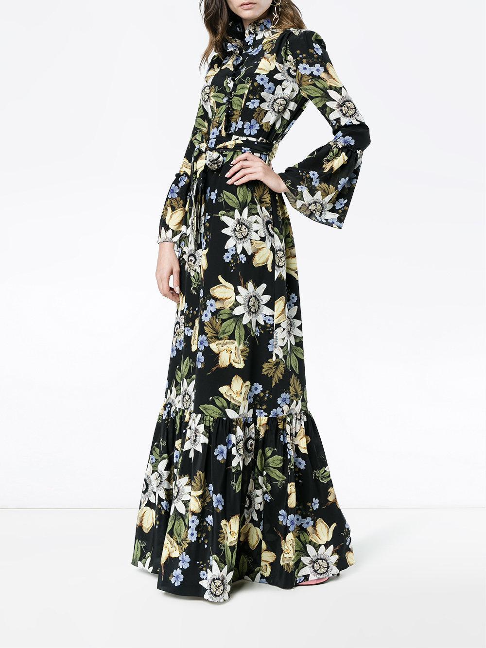 a7e8909020f0 Lyst - Erdem Stephanie Floral Print Ruffle Dress in Black - Save 58%