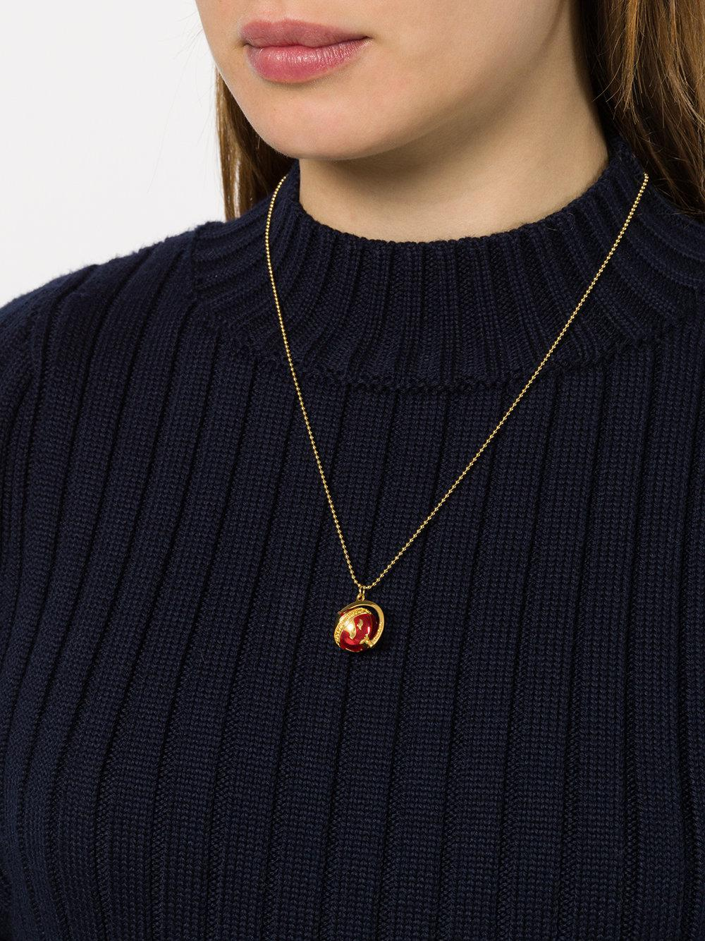 True Rocks Small Globe Pendant Necklace in Red