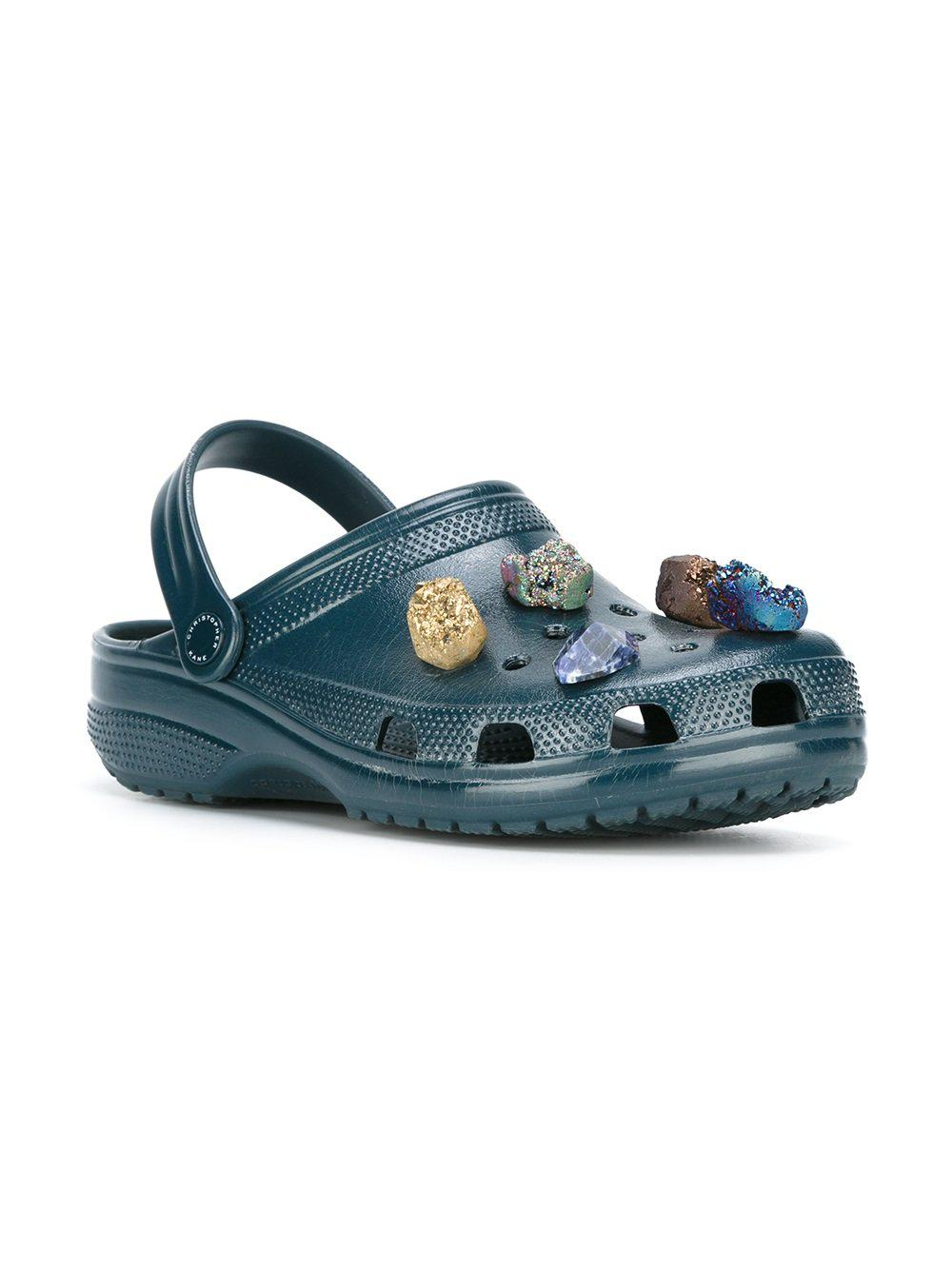 d30dbba7e0251 Lyst - Christopher Kane Stone Embellished Crocs Clogs in Blue