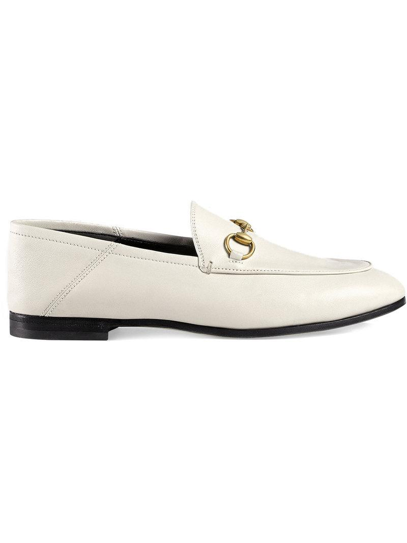 6eeac20c0de Gucci Leather Horsebit Loafer in White - Save 4% - Lyst