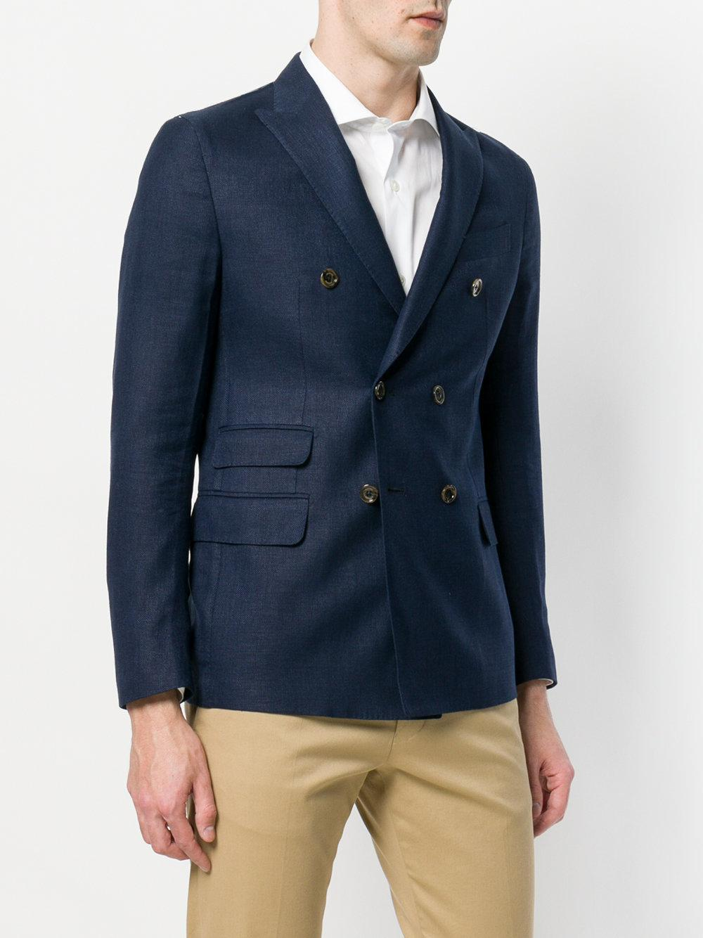 Eleventy Wool Double Breasted Blazer in Blue for Men