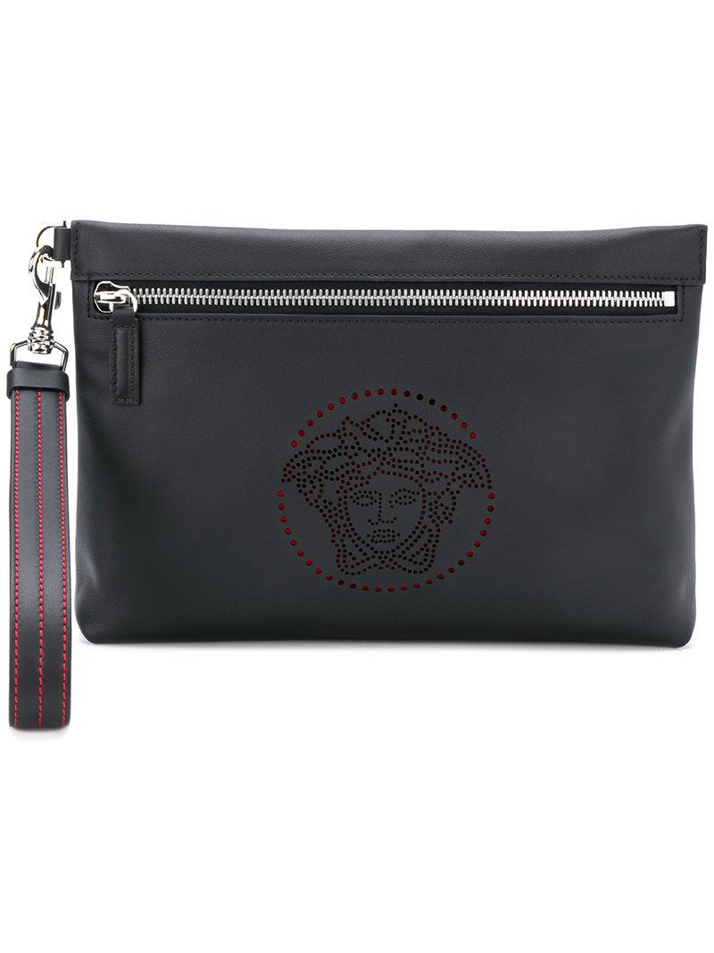 ... Versace Perforated Medusa Clutch in Black for Men - Lyst detailed look  1db87 0ab61 ... 70ff9d8196