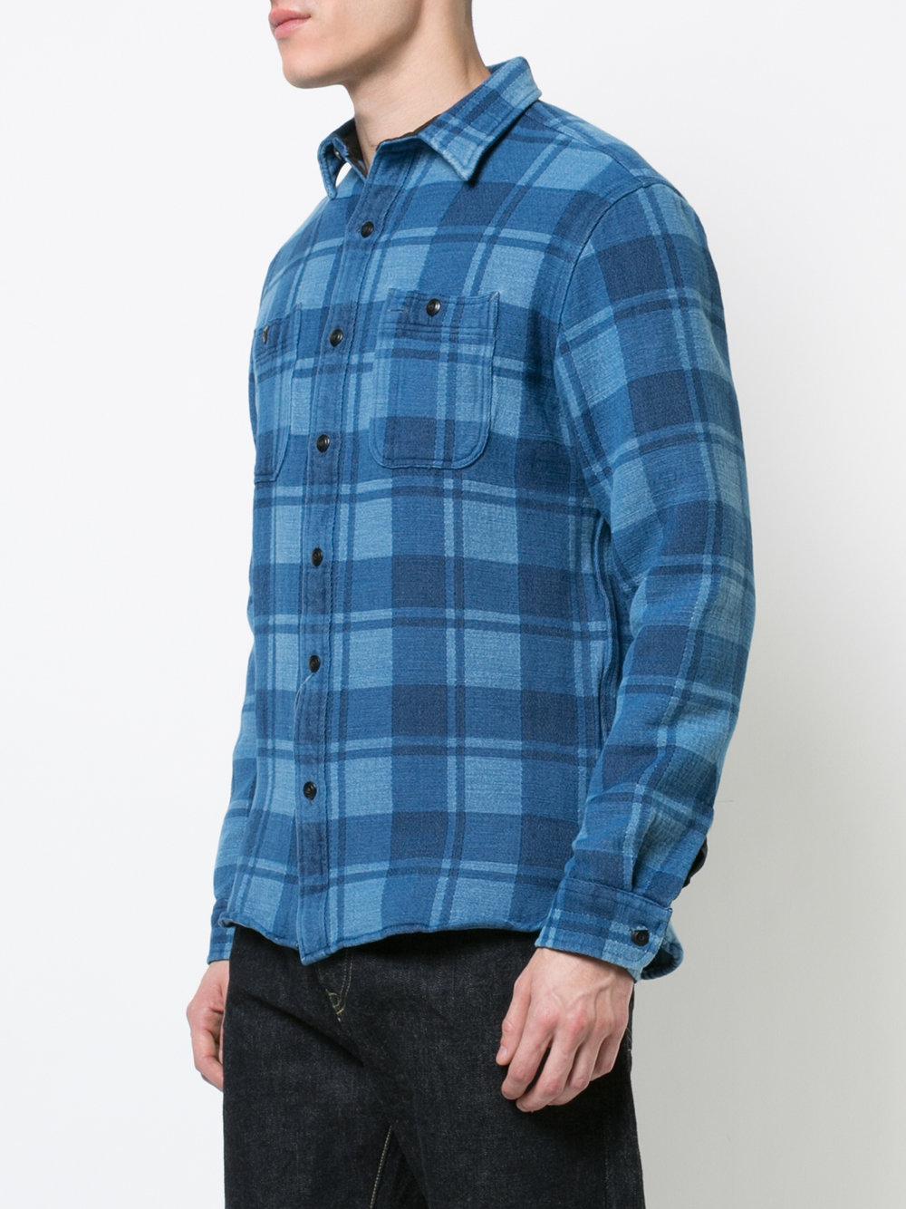 RRL Cotton Long Sleeve Plaid Shirt in Blue for Men