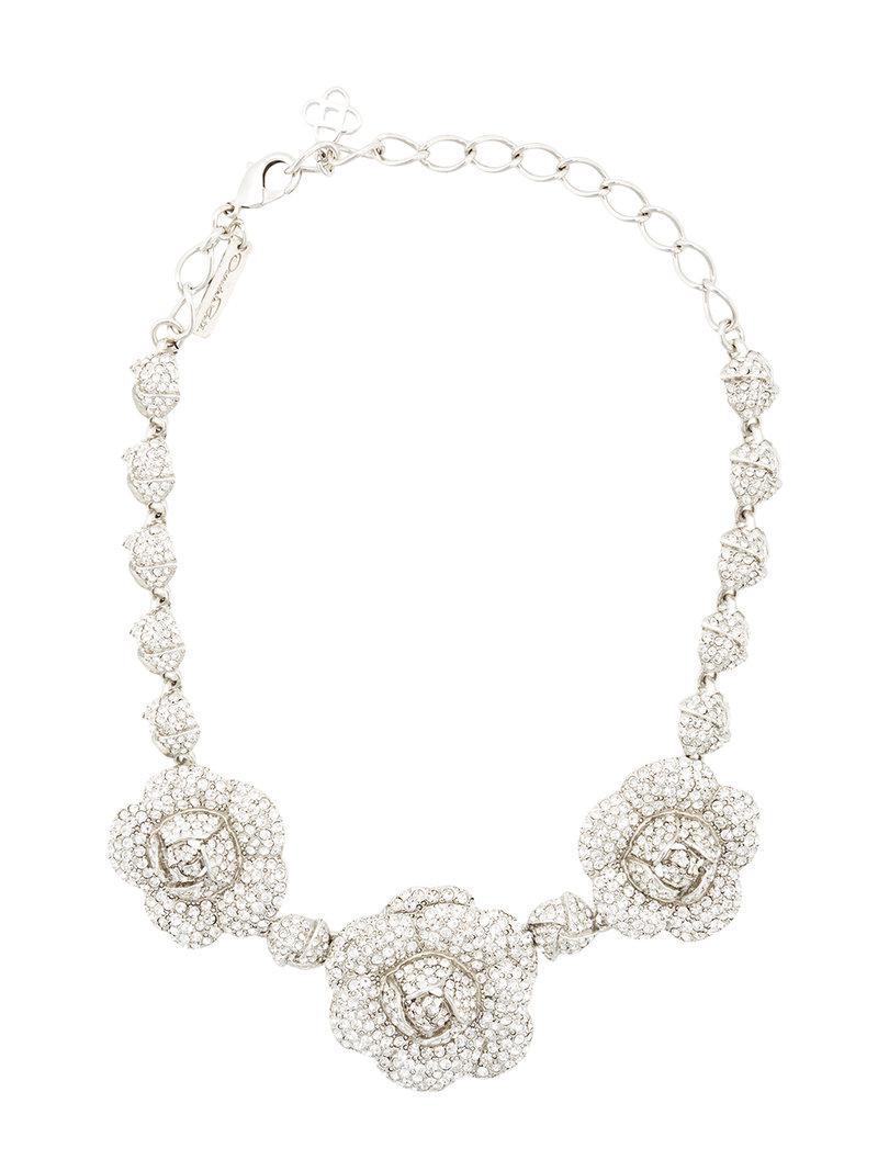 Oscar De La Renta Gardenia Pavé Swarovski Crystal Necklace WJx4AzPqE