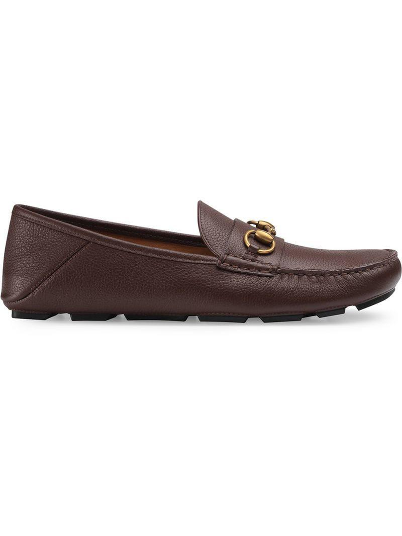 bd772cce4e9 Gucci Leather Driver With Horsebit in Brown for Men - Lyst