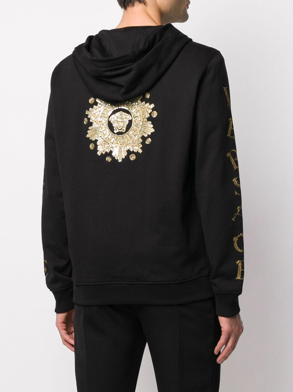 Versace Katoen Hoodie Met Medusa Print in het Zwart voor heren