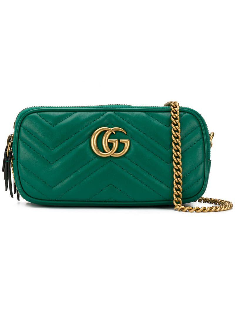7cd237e2d390 Gucci GG Marmont Crossbody Bag in Green - Lyst