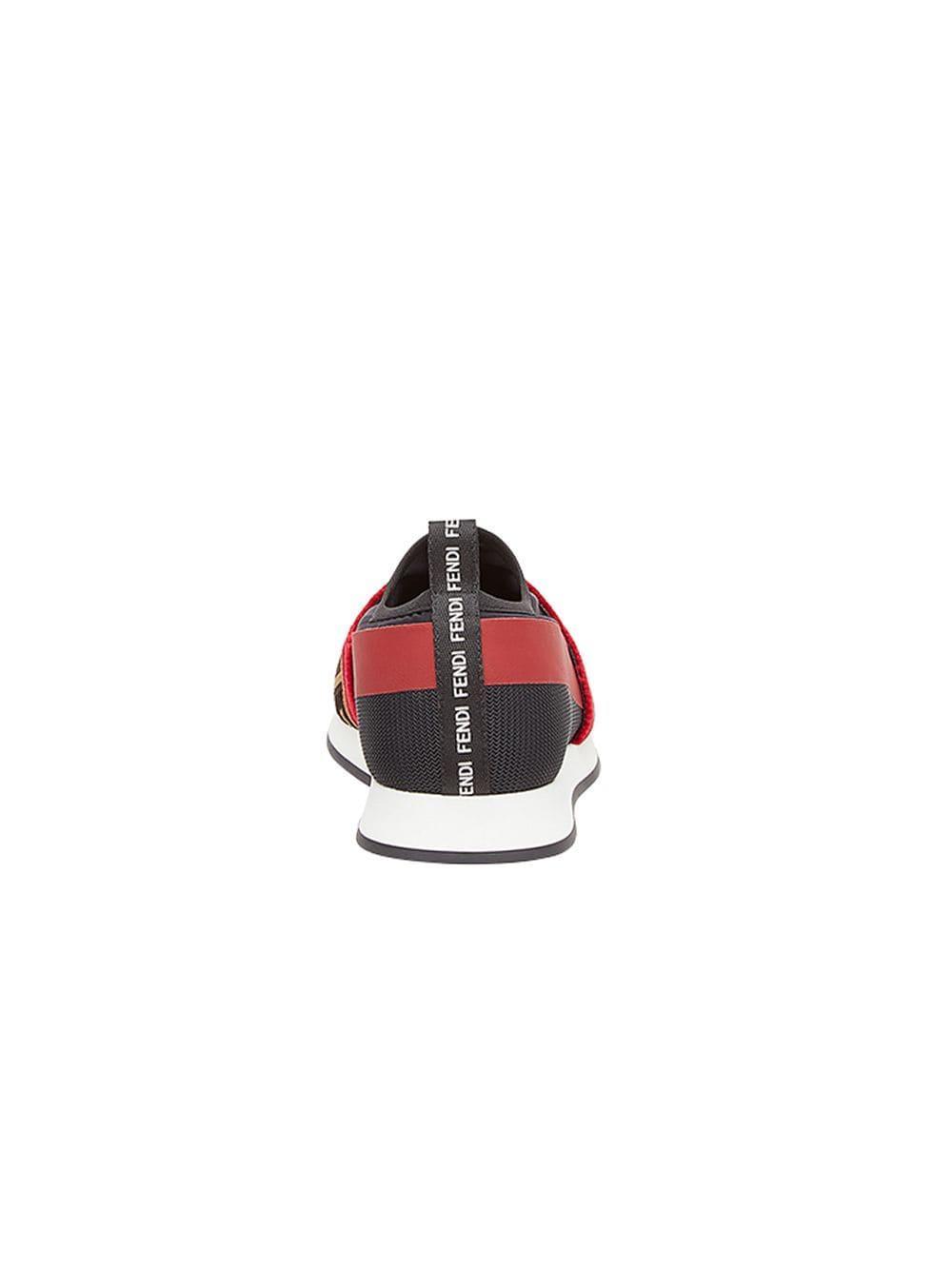 Fendi Rubber Brown Colibri Leather And Mesh Sneakers in Black
