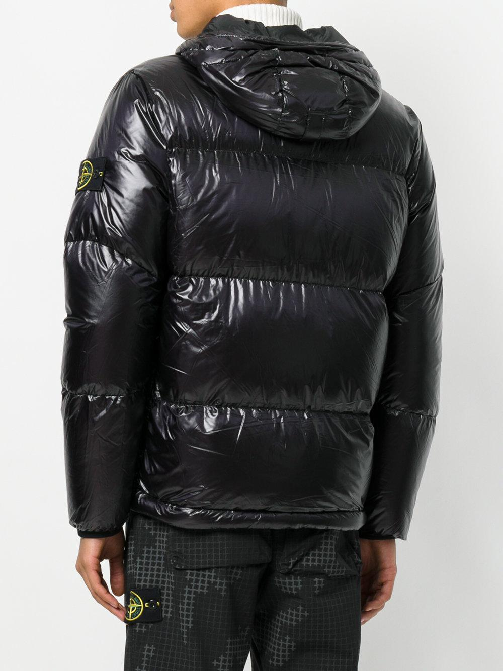 Stone Island Synthetic Glossy Puffer Jacket In Black For