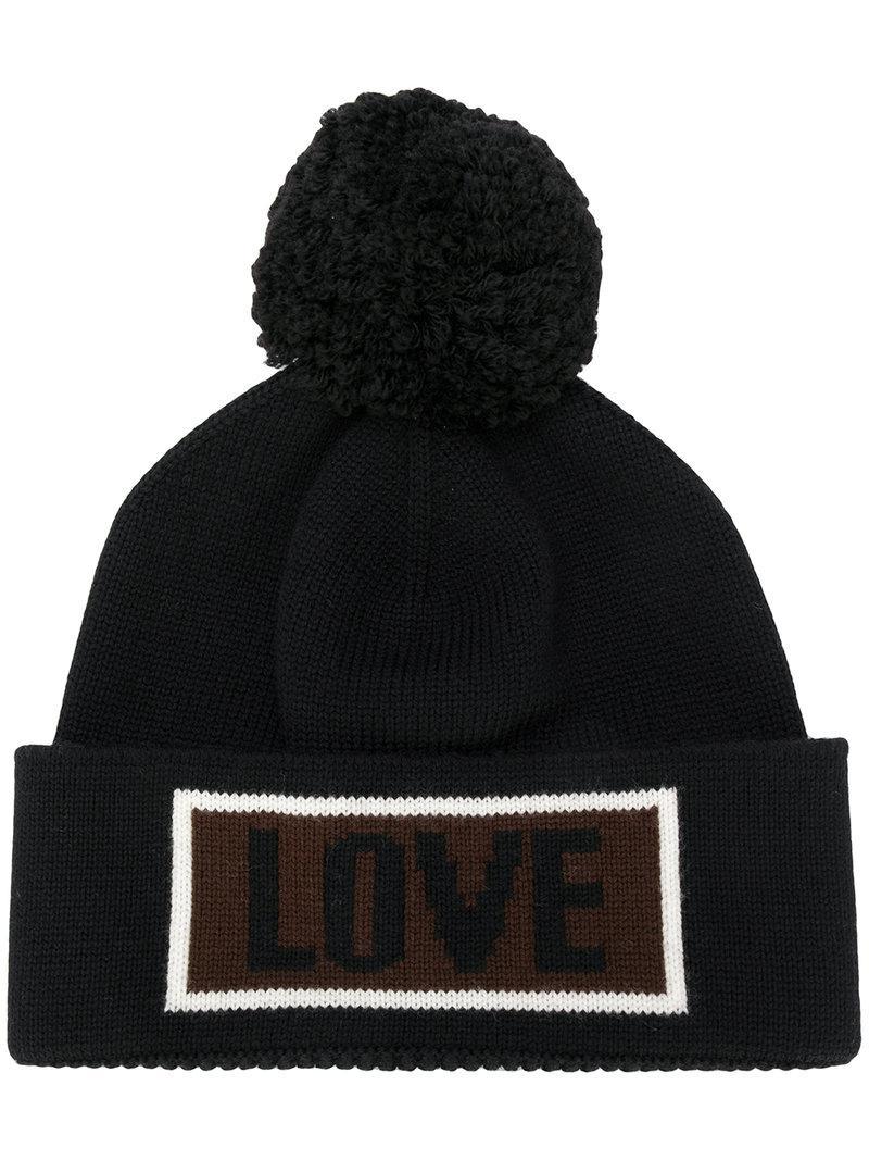 Fendi Love Slogan Beanie Hat in Black for Men - Lyst 30fc8f238c36