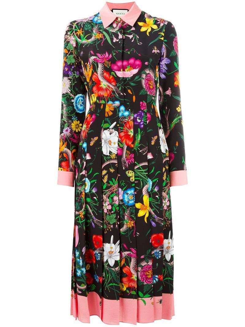 e0c7a14cc92 Gucci - Multicolor Flora Snake Print Silk Dress - Lyst. View fullscreen