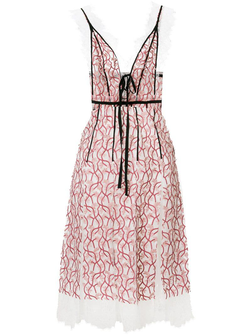 87da147334 Lyst - Giambattista Valli Floral Lace Dress in Pink - Save 2%