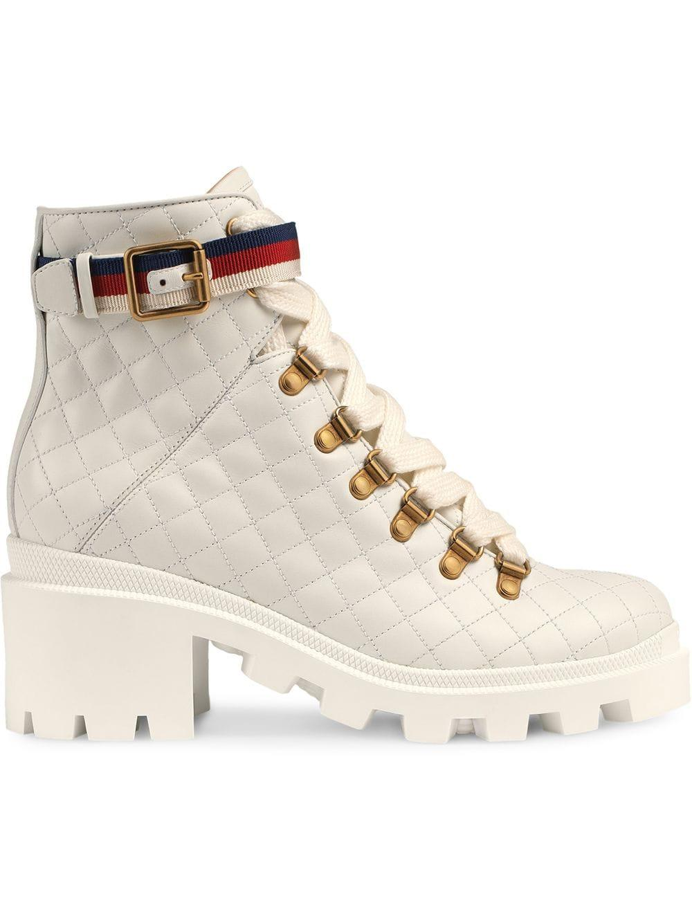 2ff940aa47dcf Women's White Quilted Leather Ankle Boot With Belt