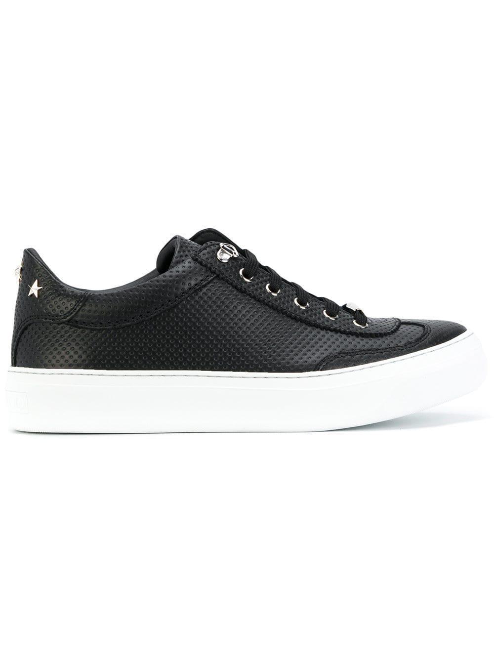 Jimmy Choo Leather Wedge Sole Sneakers in Black
