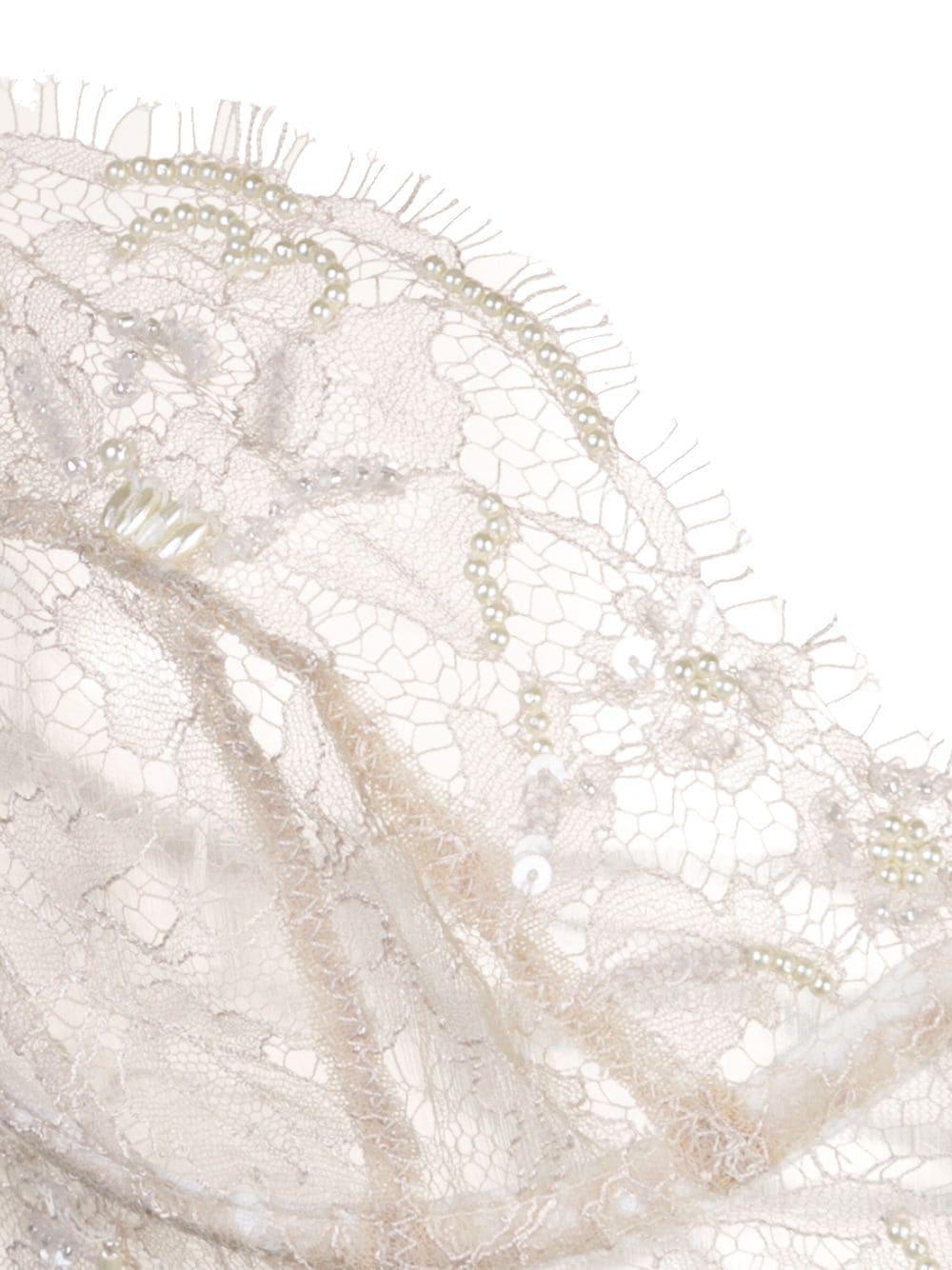Sujetador largo con cuentas Kiki de Montparnasse de Seda de color Blanco