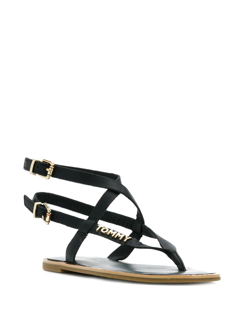 ad5a9dd0711a Lyst - Tommy Hilfiger Strappy Sandals in Black