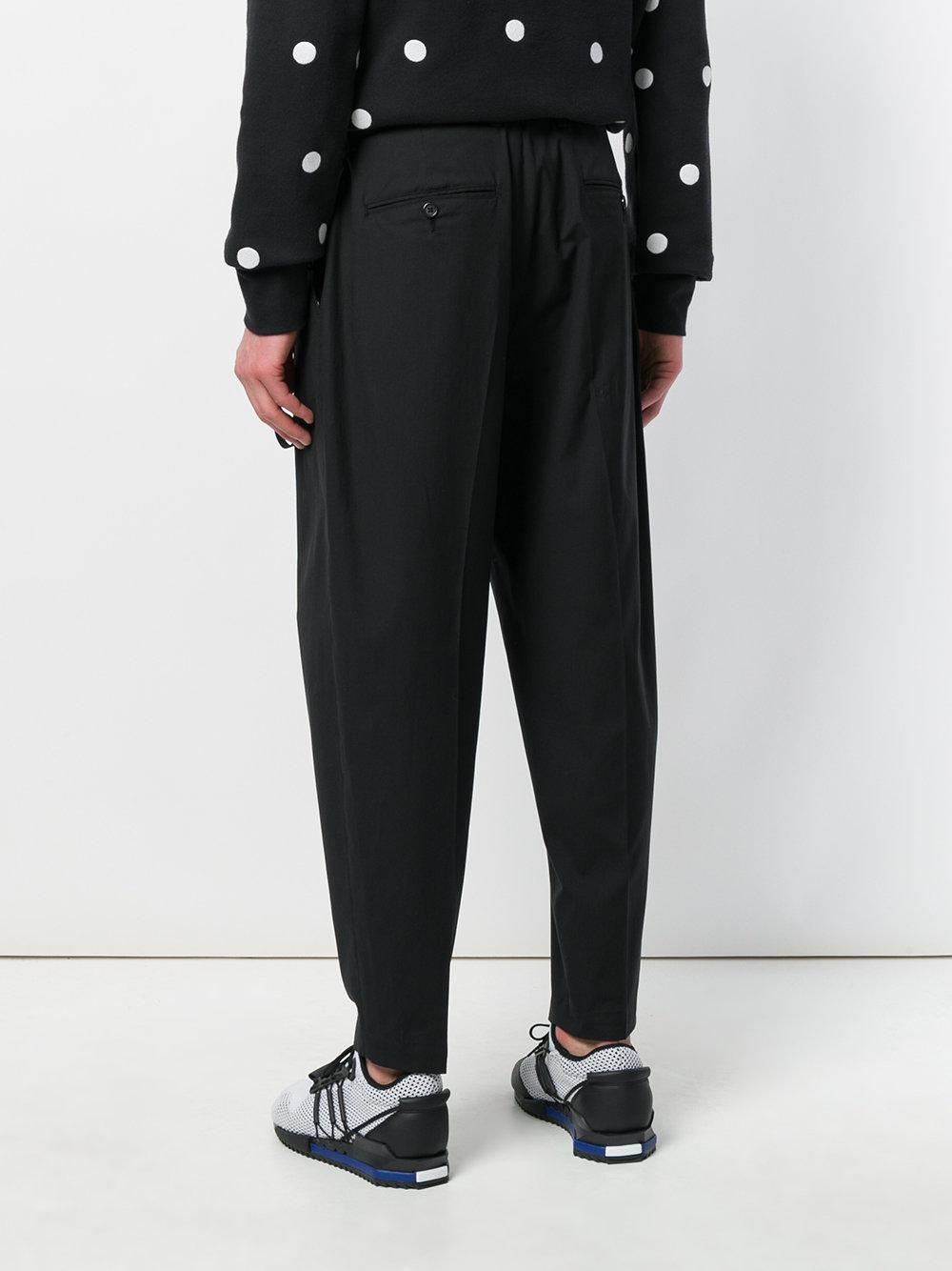 Dolce & Gabbana Cotton Tailored Tapered Trousers in Black for Men