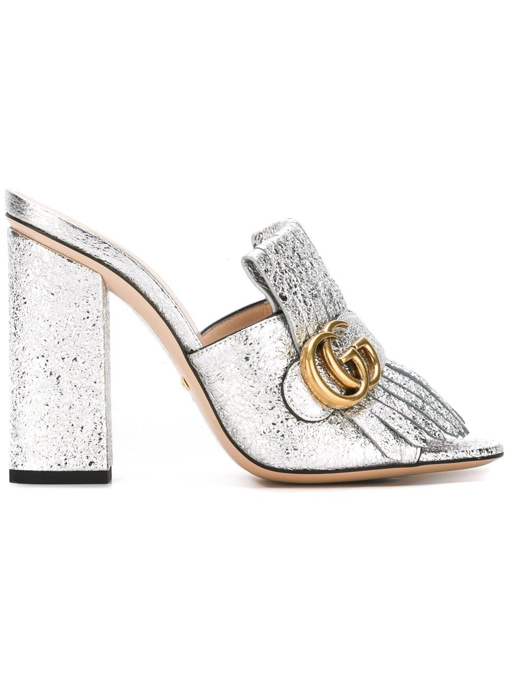 Gucci Leather Marmont Mules in Silver
