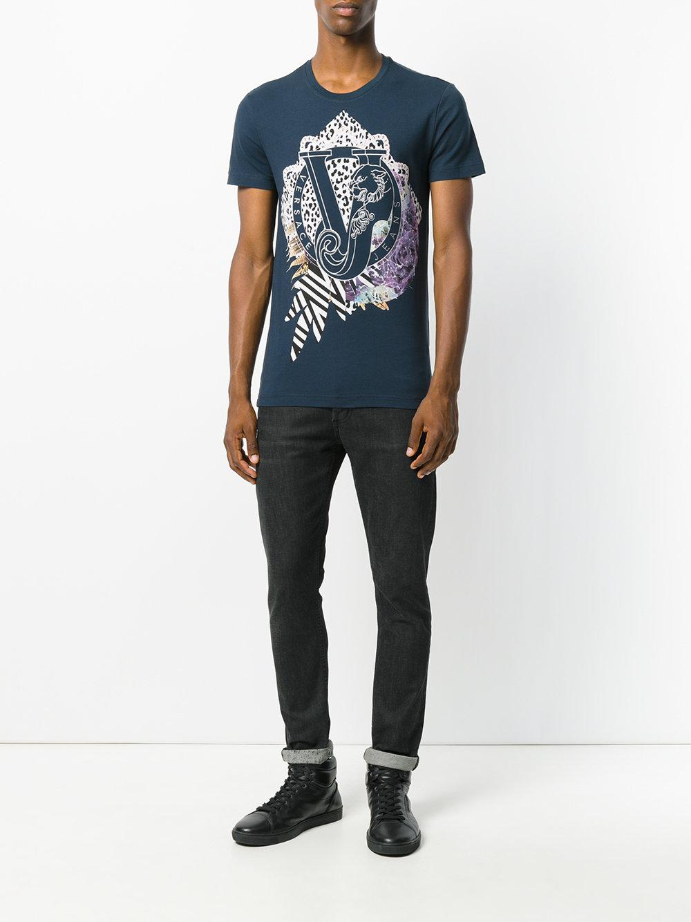 lyst versace jeans logo print t shirt in blue for men. Black Bedroom Furniture Sets. Home Design Ideas