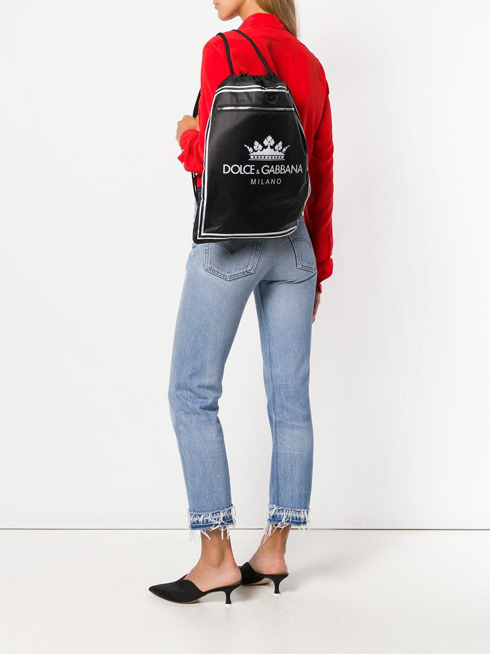 Dolce & Gabbana Leather Drawstring Logo Backpack in Black