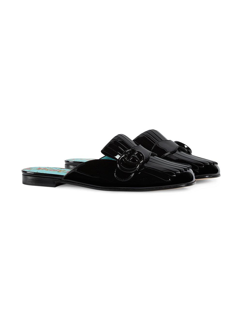 68dbe2913bf Lyst - Gucci Marmont Patent Leather Slipper in Black