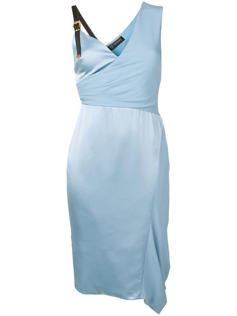 e0894cdbc4a Lyst - Versace Asymmetric Silk Cocktail Dress in Blue
