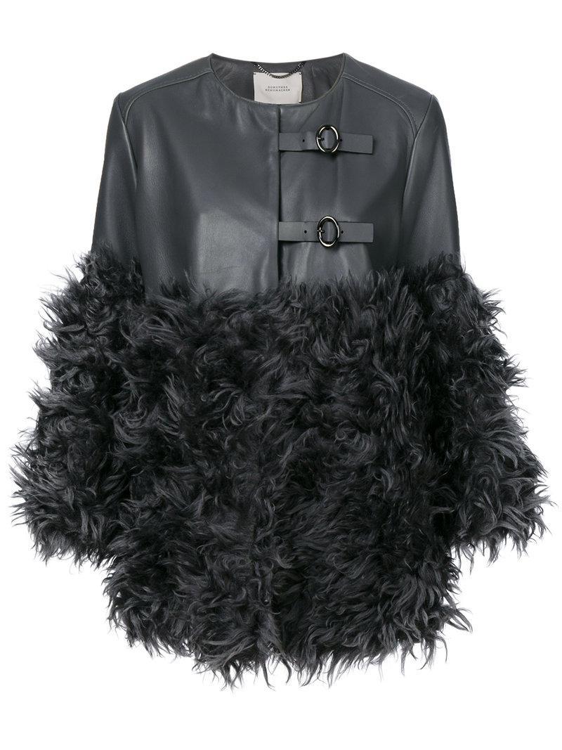 lyst dorothee schumacher fur panelled coat in gray. Black Bedroom Furniture Sets. Home Design Ideas