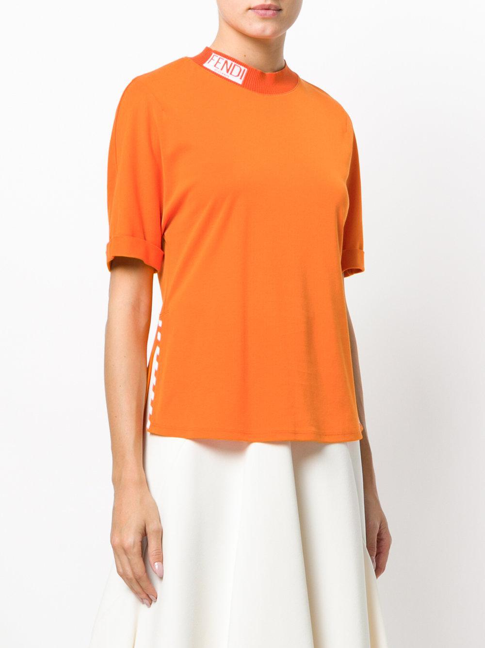 neck logo T-shirt - Yellow & Orange Fendi 2018 Cheap Online Cheap Sale Outlet Store Cheap Sale 2018 YKcyc