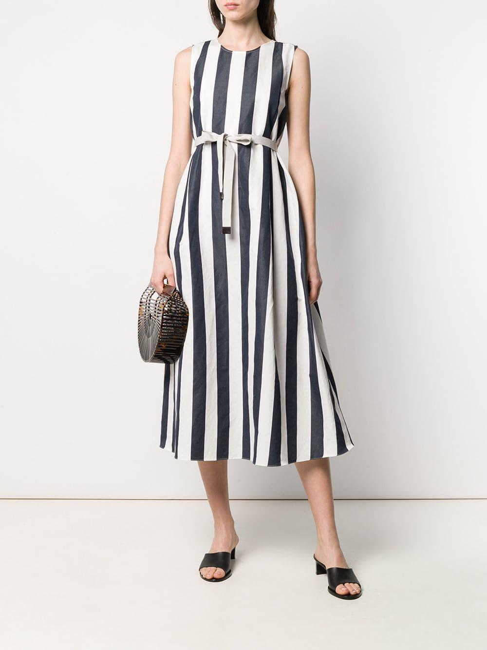 53d078ca9f5b Lyst - Max Mara Stripe Midi Dress in White