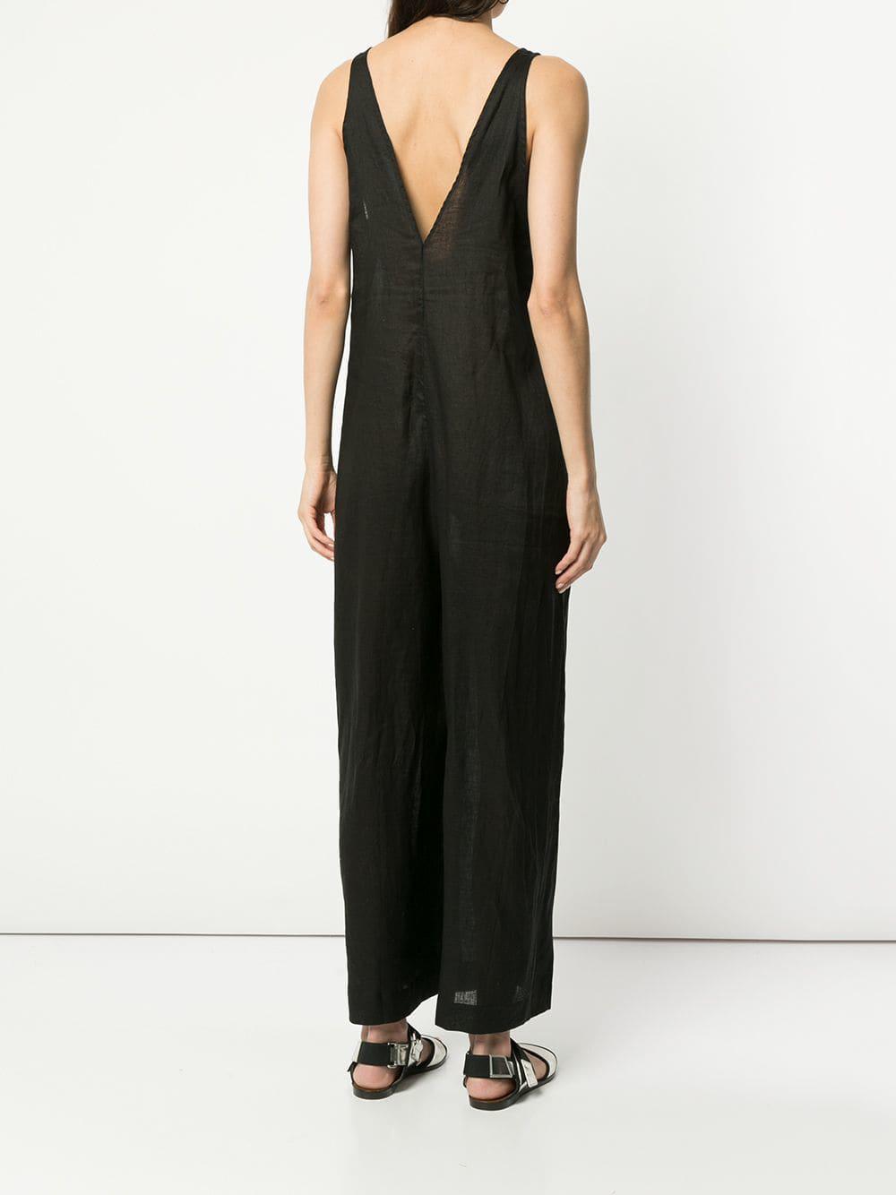 0ad4d59577 ... Black Sleeveless V-neck Jumpsuit - Lyst. View fullscreen