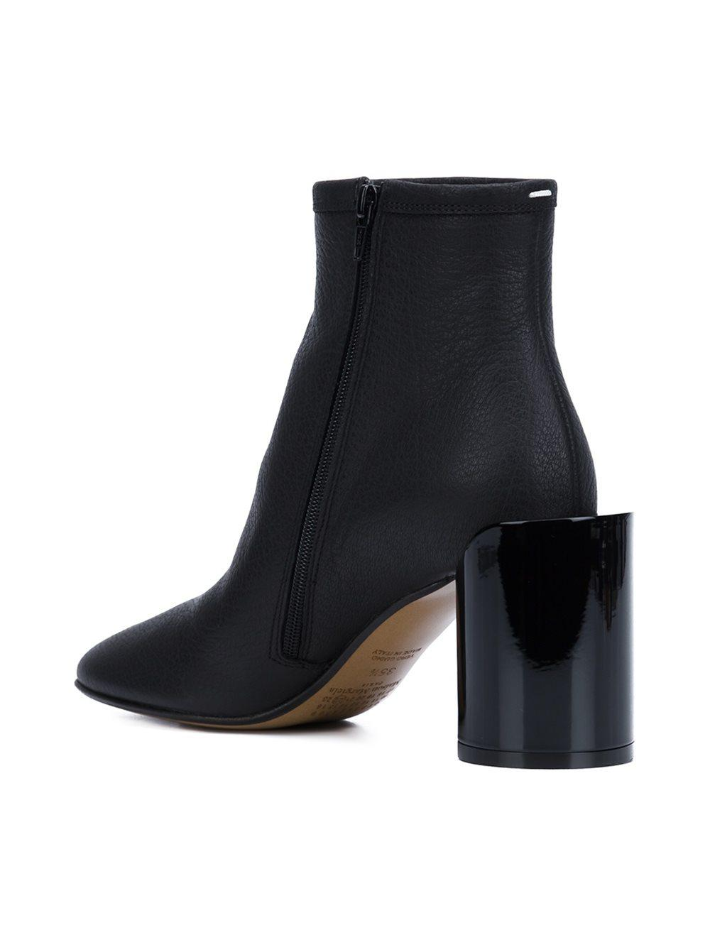Maison Margiela Extended-Heel Leather Ankle Boots in Black