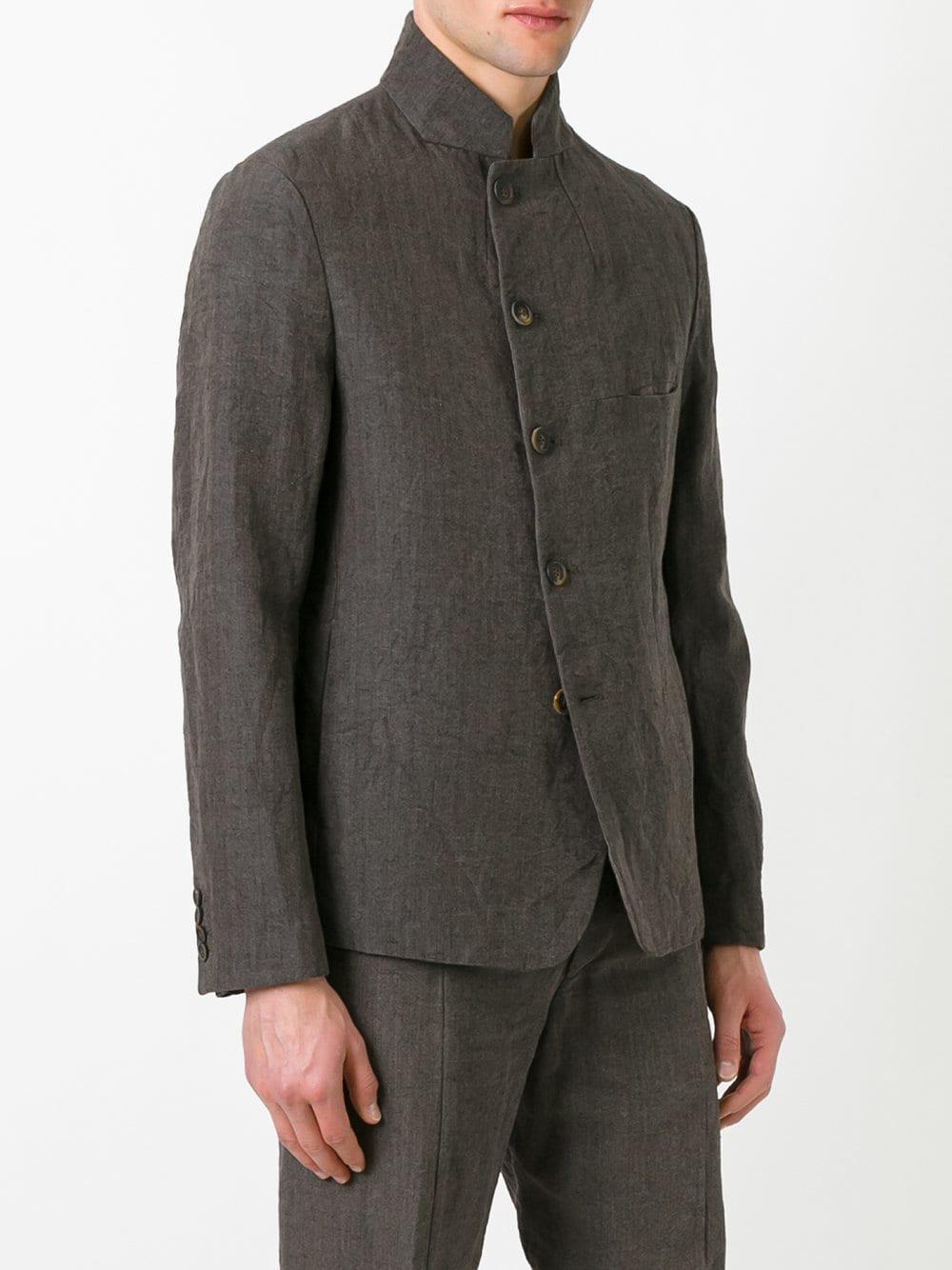 Forme D'expression Cotton Slashed Mess Jacket in Brown for Men