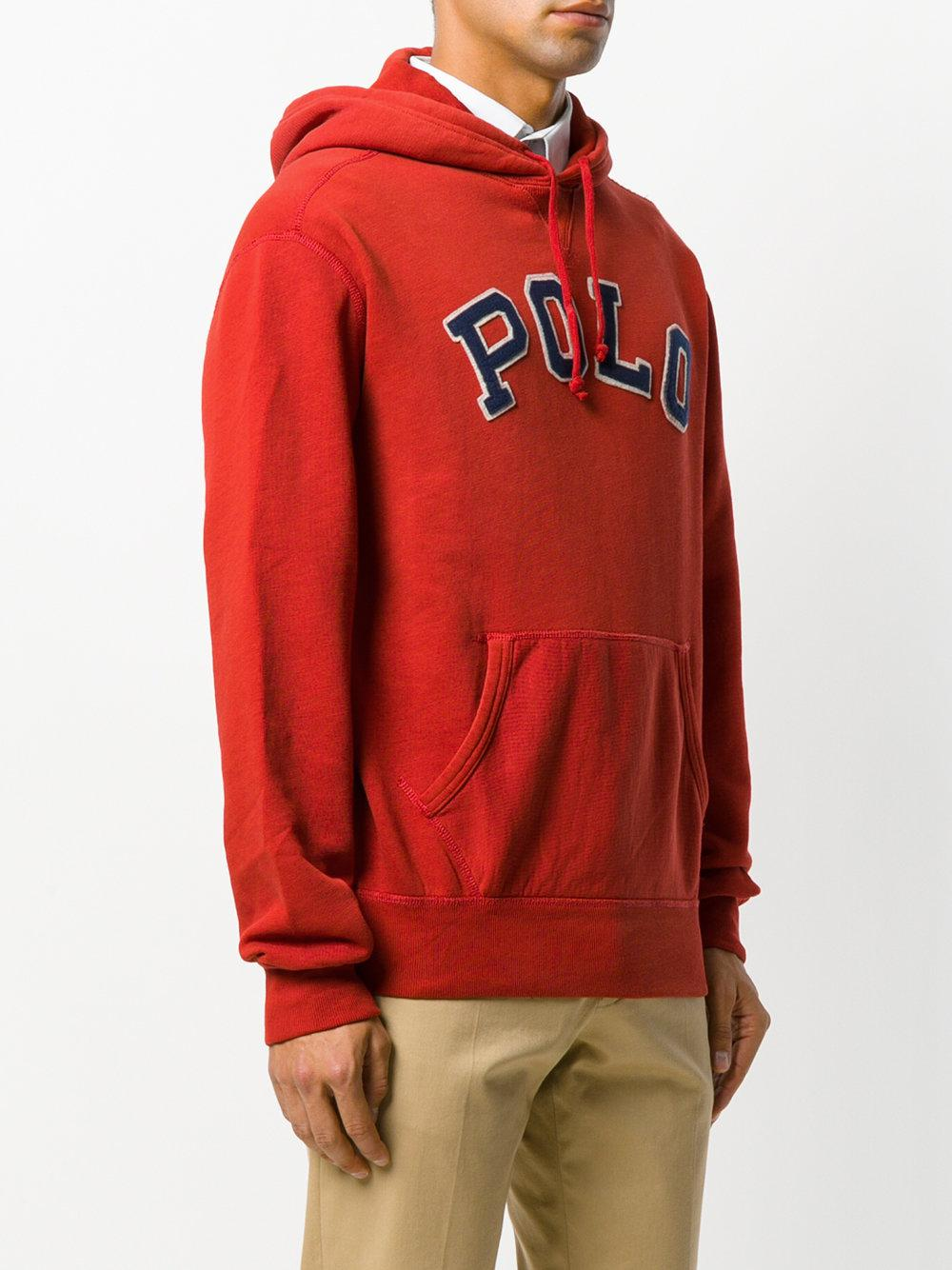 Red polo hoodie