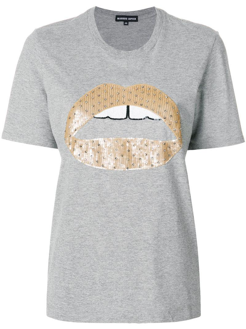 Lyst Markus Lupfer Alex Lips Sequined T Shirt In Gray
