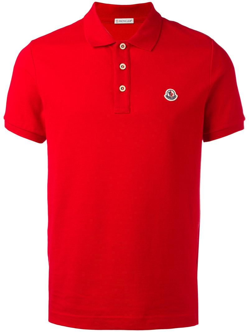 Lyst moncler classic polo shirt in red for men for Moncler polo shirt sale